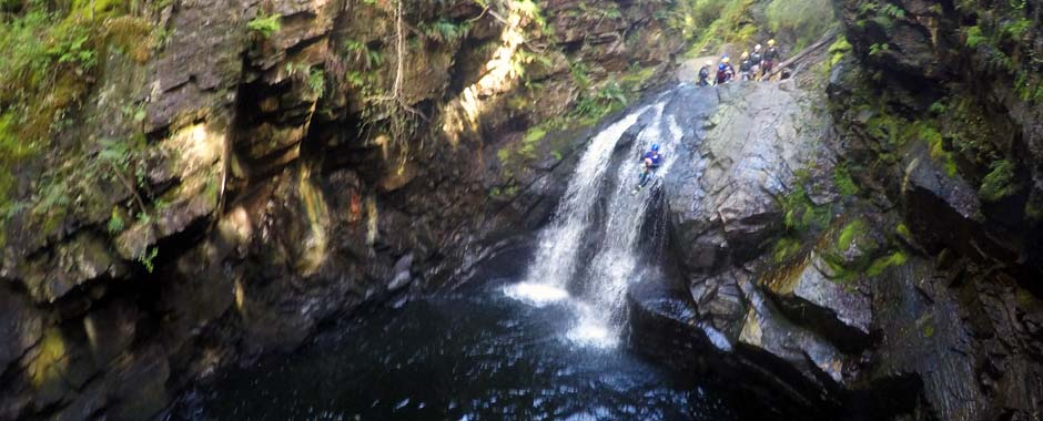 Throw yourselves down a raging Welsh river, complete with waterfalls, a zipline, jumps and climbs