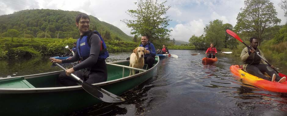 An easy going kayak and canoe trip on the river, we also had Sparky the adventure dog for company